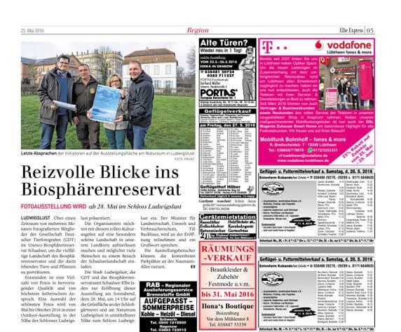 Ankündigung der Outtdoorausstellung im Anzeigenblatt Elbe express vom 25.05.16