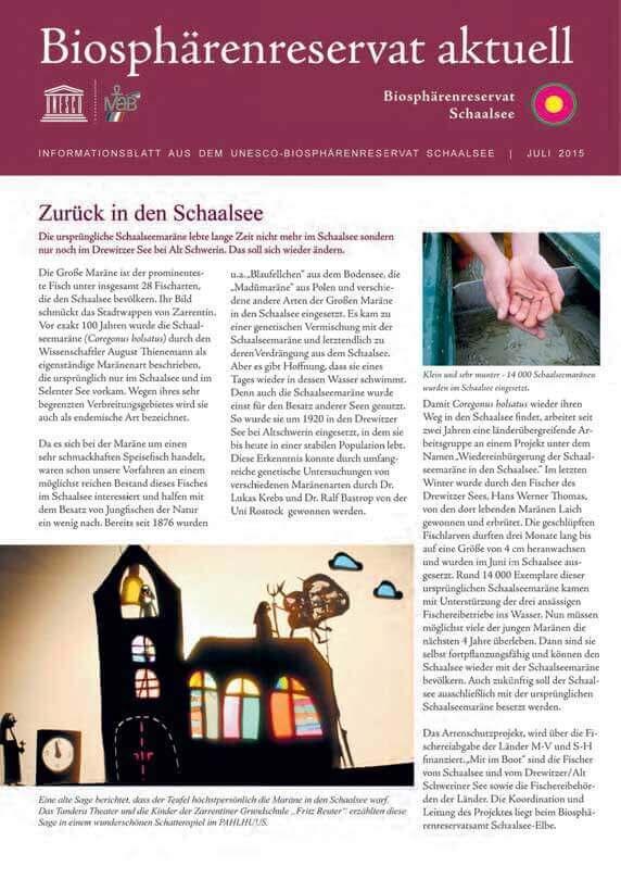 "Titelblatt ""Biosphärenreservat aktuell"" Ausgabe Juli 2015"