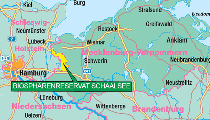 Lage Biosphärenreservat. Karte: Verlag Maiwald-Karten