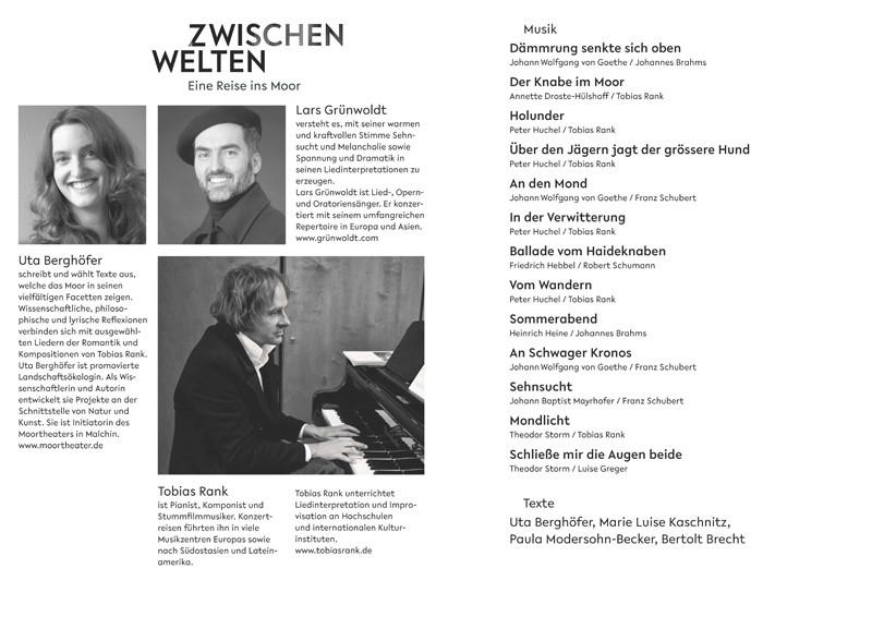 """Das Programm """"Zwischenwelten – Eine Reise ins Moor"""". Quelle: Verein Freunde Fritz Greve e. V., Moortheater."""